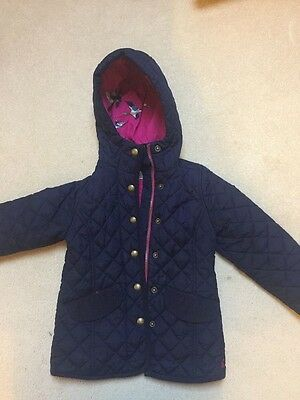 Girls Joues blue padded coat with hood age 4 years