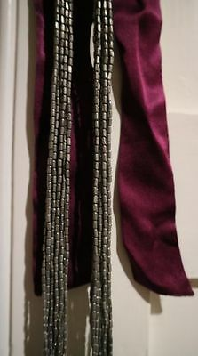 JIGSAW Ribbon Tie Long Beaded Necklace Silver and Purple Silk RRP £49 PARTY!