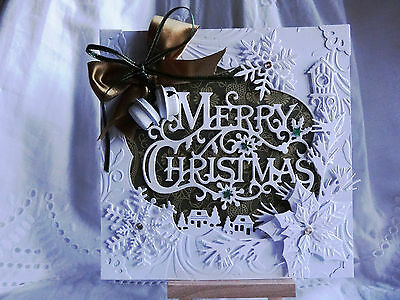Luxury 3D Hand Made Merry Christmas White Bells Christmas Card Topper