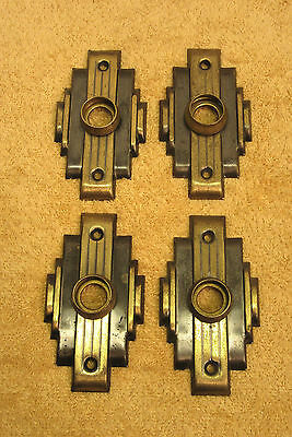 Set of 4 Vintage Antique Brass Art Deco Door Backing Plates