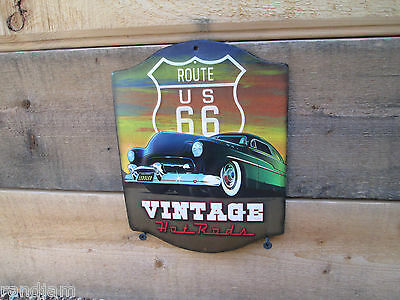 Route Us 66 Vintage Hot Rods Look Embossed Metal Sign Man Cave Don Vierstra Coo