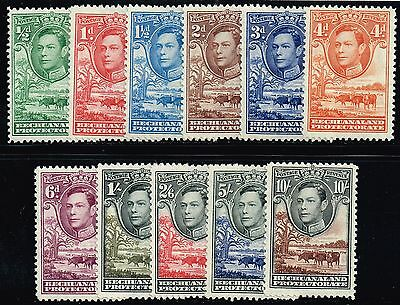 Bechuanaland 1938-52 King George VI, Baobab Tree & Cattle set, MH (SG#118/128)