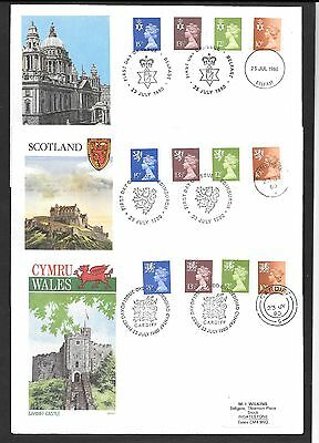 All Three Regional Philart First Day Covers dated 23 July 1980 incl 10p ctr band