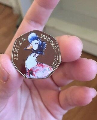 BEATRIX POTTER Jemima Puddle Duck  50P COLOUR(not Silver Proof Coin)decal