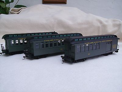 Bachmann Spectrum 0n30 NG coaches 3 Colorado and Southern, one lot, not orig box