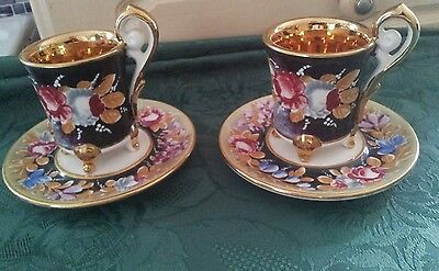 A Very Pretty Pair Of Capodimonte Cups And Saucers. #2