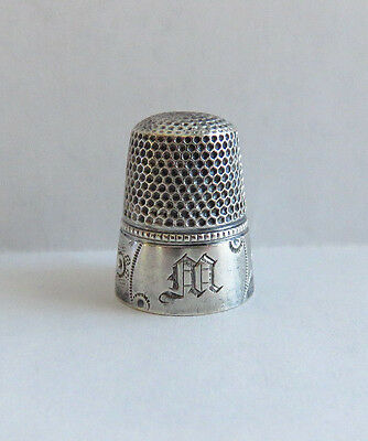 Antique Sterling Silver Waite Thresher Thimble Sz. 8 Initial M
