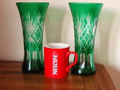A Pair of 22cm Green Cut Etched Vases - Bohemian Art Glass Gorgeous