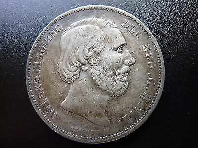 1868 Netherlands 2 1/2 Gulden Willem III Lovely Aged Toned Coin