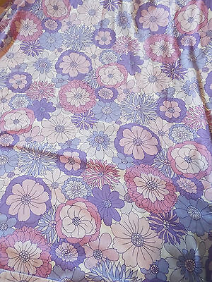 *VINTAGE* Purple Floral SINGLE DUVET Cover / Fabric - 1970s 1980s 1960s Material