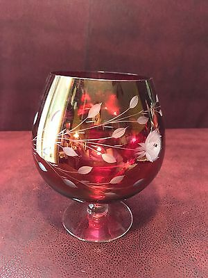 Vintage Ruby Red Cut To Clear Extra Large Brandy Glass
