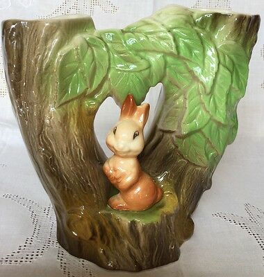 RETRO/VINTAGE EASTGATE POTTERY WITHERNSEA DOUBLE VASE ~ RABBIT AND TREE.  No 74