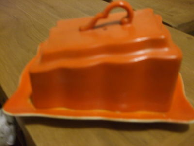 Vintage coloured cheese dish and cover