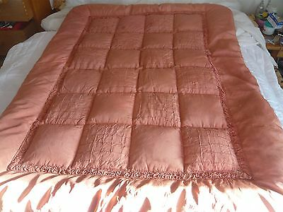 Eiderdown small single vintage old  pink/ apricot ,shows wear