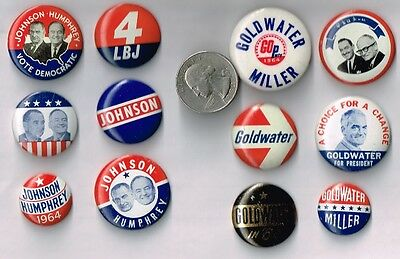 12 Different LYNDON JOHNSON & BARRY GOLDWATER Campaign Buttons