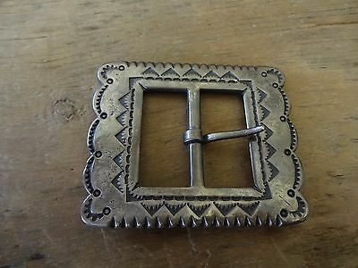 SUPER HEAVY Navajo Cast Silver and Stamped Belt Buckle ca.1930 A BEAUTY