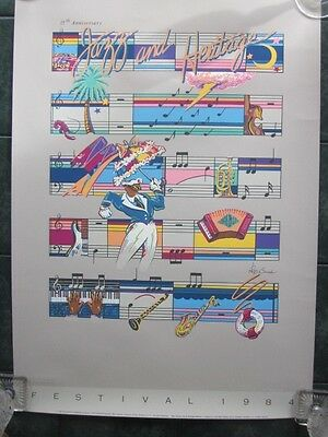 1984  New Orleans Jazz Festival Poster by Philip Bascle 8636/12,500 15th Anniv.