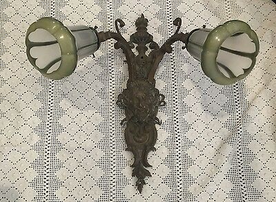 1920's Art Deco Bronze Light Fixture Vintage Original Antique Shades