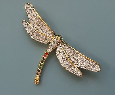 Lovely Vintage Large Dragonfly With Crystals Brooch