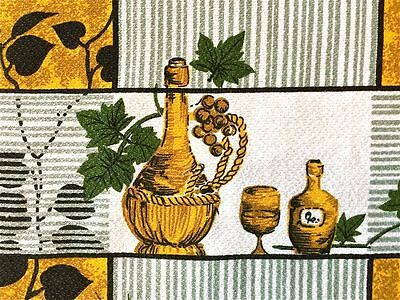 TYPICAL 1950s VINTAGE COTTON BARKCLOTH FABRIC MID-CENTURY MODERN WINE AND VINES