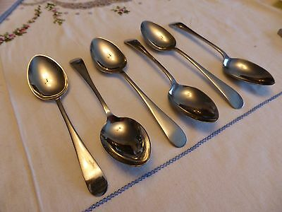 Set Of 6 Vintage 'old English' Stainless Nickel Silver Tea Spoons  010315016/017