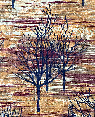 FAB 1950s VINTAGE COTTON BARKCLOTH FABRIC MID-CENTURY MODERN FOTHERGAY TREES
