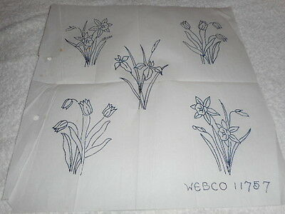 Vintage Embroidery Iron On Transfer -Webco No.11757 - Flowers