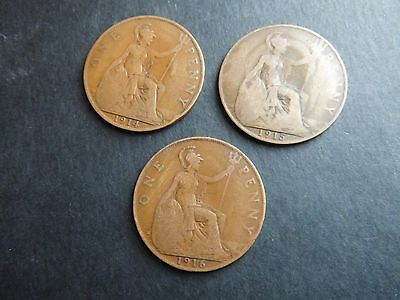 GB coin KGV King George V 1d 1914 1915 1916 One penny coins