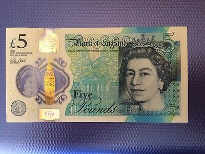 Brand new Polymer £5 Five Pound Note. Uncirculated. AA01 Serial.