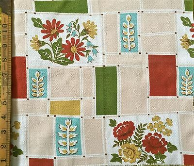 1950s VINTAGE COTTON BARKCLOTH FABRIC  GREAT MID-CENTURY MODERN DESIGN