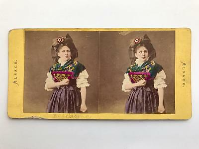 Early Stereoview 1860s Alsace French Costume European Woman Colour Tinted