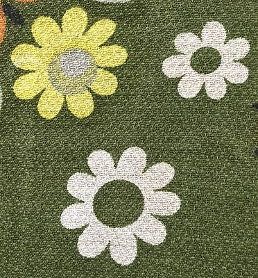FAB 1960s/1970s VINTAGE COTTON BARKCLOTH FABRIC - FUNKY FLOWER DESIGN