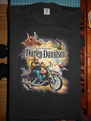 Vintage On The Eighth Day God Created Harley Davidson T Shirt