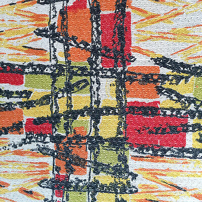 1950s/60s VINTAGE COTTON BARKCLOTH FABRIC - FAB PAINTERLY CHECK DESIGN
