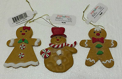 Lot of 3 GINGERBREAD COOKIE Ornaments  Boy, Girl & Snowman   NEW/NWT