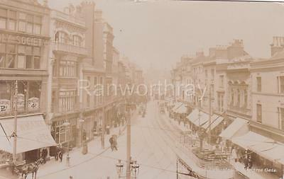 Rp Leicester Gallowtree Gate Street Scene Tram Shops  Real Photo  Posted 1909