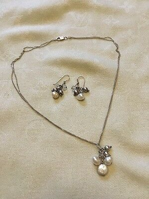 925 Silver Cultured Pearl Necklace Earrings Set Wedding Christmas