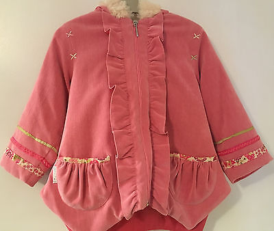 Stunning Little Darlings Coat Age 4 Pink cord Girls Designer Clothes