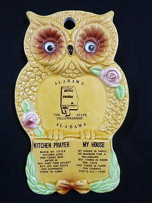 Vintage OWL SPOON REST Kitchen Prayer My House ALABAMA Souvenir Gold Pink Roses