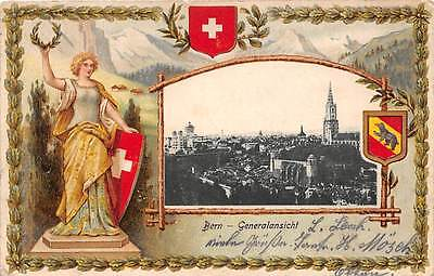 BERN, SWITZERLAND, TOWN OVERVIEW, HELVETIA, POSTAL LABEL ON BACK, used 1903