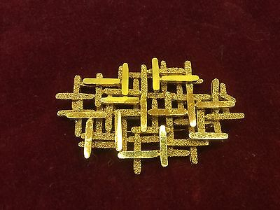 Vintage Brooch Abstract Modernist Gold Tone 1960s