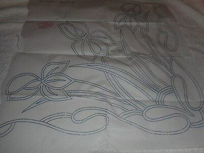 Large Vintage Embroidery Iron on Transfer- For Cushion-Boynton & Turner -Flowers