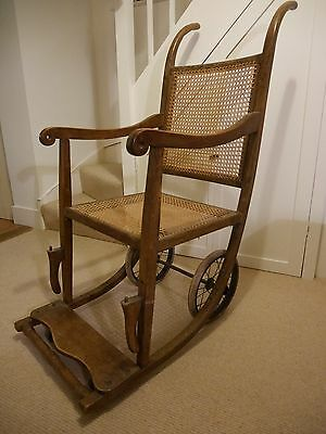 Bath chair, cane and wood, with wheels