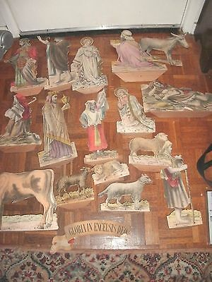 Victorian Nativity Figures On Card Probably  Made In Austria/germany