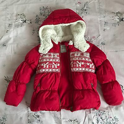 Girls NEXT Winter Puffa Padded Red Jacket Coat Great For Christmas 2-3 Years