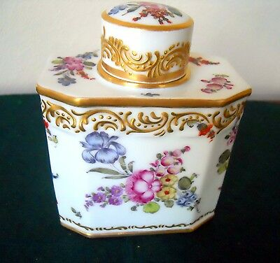 Spectacular Antique Porcelain Tea Caddy, Richly Hand Decorated ,Floral &Gold.