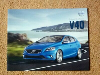 Volvo V40  UK Price & Specification Brochure 2014 only £2.70.FREE P+P