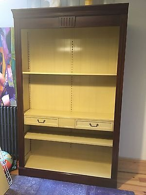 Large Stendhal Grange French Cherry And Pale Yellow Painted Wood Bookcase