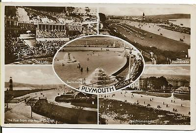 Vintage Postcard. Plymouth. Five Views. Real Photograph. Unused