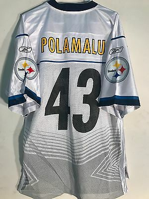 342656a0d Reebok NFL Jersey Pittsburgh Steelers Troy Polamalu White Super Bowl 45 sz L